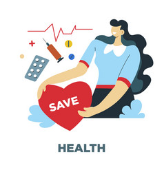 Health human needs and heart rate medical vector