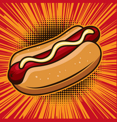 Hot dog in comic style design element for poster vector