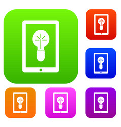 Idea lamp on gadget screen set collection vector