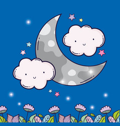 Kawaii fluffy clouds with moon and flowers vector