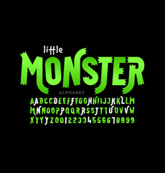 kids cartoon playful style little monster font vector image