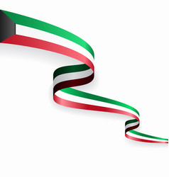 Kuwaiti flag wavy abstract background vector