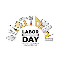 labor day construction equipment circle vector image