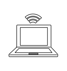 Laptop connected to wifi vector