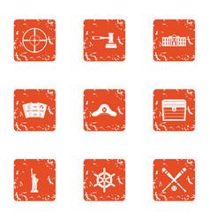 Legislation icons set grunge style vector