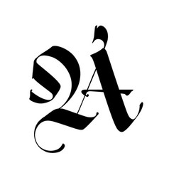 Letter a in gothic style alphabet the symbol vector