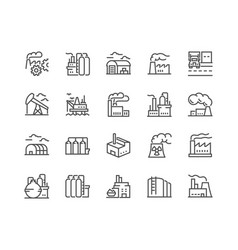 Line factories icons vector