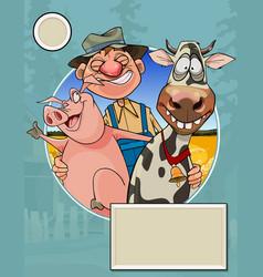 Logo a cartoon joyful farmer with his animals vector