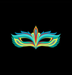 Masquerade party mask turquoise and yellow vector