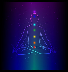 Meditating human silhouette with chakra signs vector