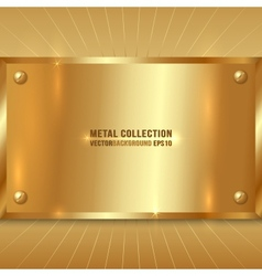 Metallic golden plate vector