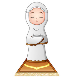 Muslim woman praying isolated on white background vector