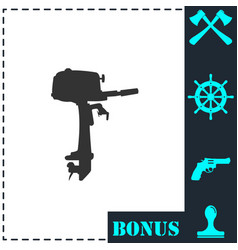 outboard boat motor icon flat vector image
