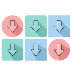 outlined icon of downward direction arrow with vector image