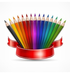 Pencil fan with ribbon on vector image