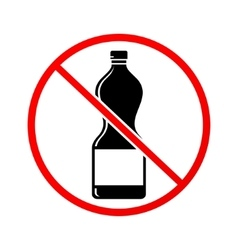 Plastic bottle not allowed sign vector