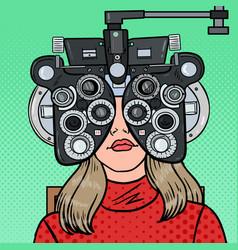 Pop art woman patient at optometric clinic vector