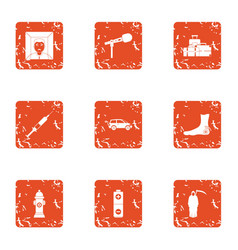 Posthumously icons set grunge style vector
