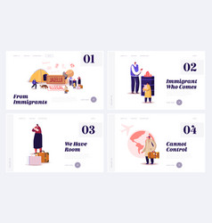 Problem illegal immigration landing page vector