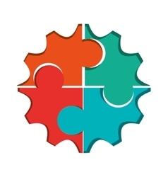 Puzzle gears icon vector