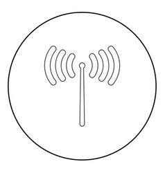 radio signal icon black color in circle vector image