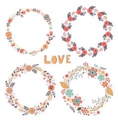 Romantic floral wreaths vector