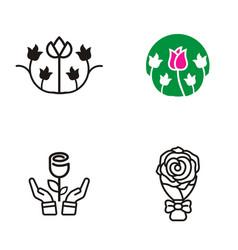 rose flower logo vector image
