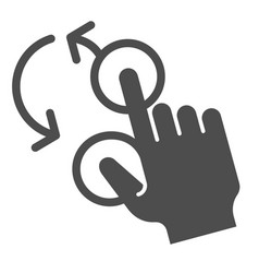 Rotate with two fingers solid icon swipe vector