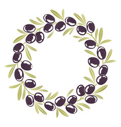 round ornament wreath of black olives vector image
