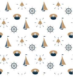 sailboat ship bell captain hat steering wheel vector image