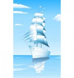 Sailing ship in sea vector