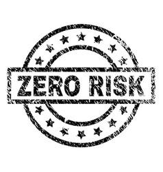 Scratched textured zero risk stamp seal vector