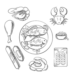 Seafood and meat sketched icons vector