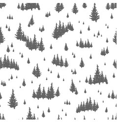 seamless pattern with silhouettes of coniferous vector image