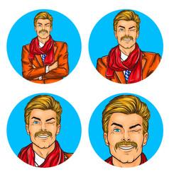 set of mens pop art round vector image vector image