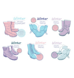 set of sketch boots shoes for winter vector image