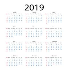 simple calendar 2019 calendar 2019 simple style vector image