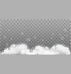 soap foam and bubbles on transparent background vector image