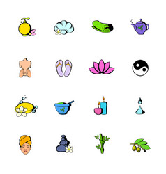 spa icons set cartoon vector image