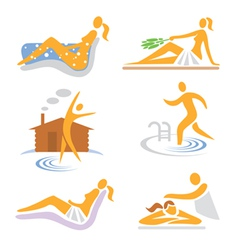 Spa wellness sauna icons vector
