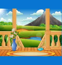 Terrace overlooking a beautiful nature landscape vector