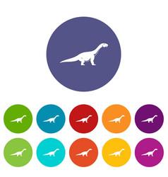 Titanosaurus dinosaur icons set flat vector