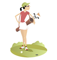 young woman with a bag with golf clubs vector image