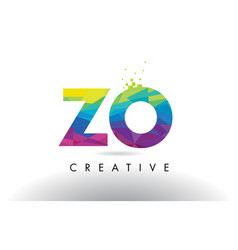 zo z o colorful letter origami triangles design vector image