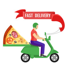 fast delivery man and pizza on vector image