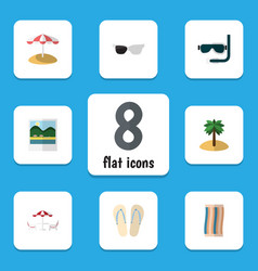 Flat icon season set of beach sandals recliner vector