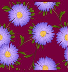 purple aster flower on violet red background vector image vector image