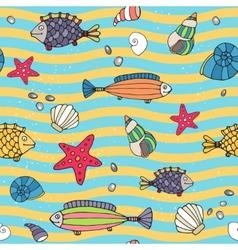 Seamless pattern of sea life on the seashore vector image vector image