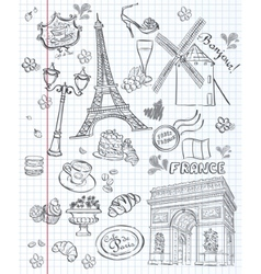 Set of images of various attractions Paris vector image vector image