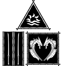 stencils of fantasy east flags and standards vector image